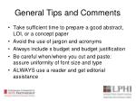 general tips and comments1
