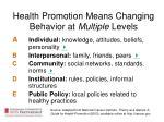 health promotion means changing behavior at multiple levels