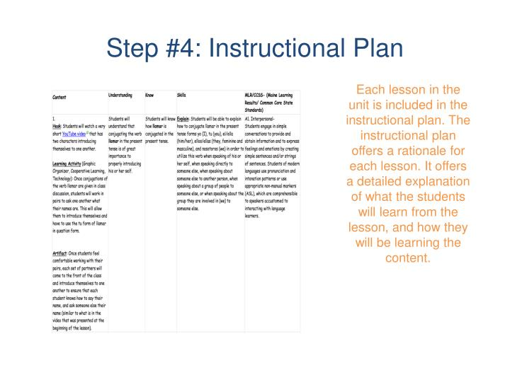 Step #4: Instructional Plan