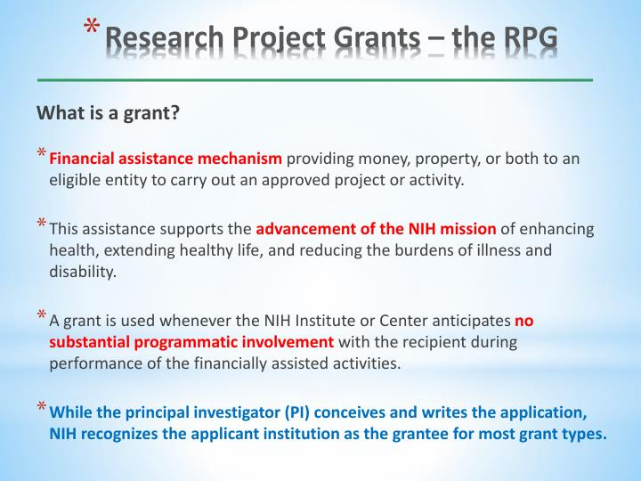 Research project grants the rpg