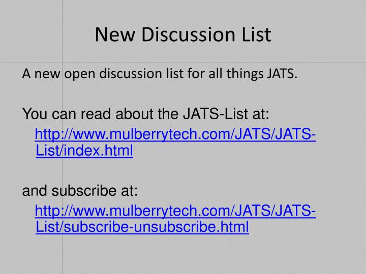 New Discussion List