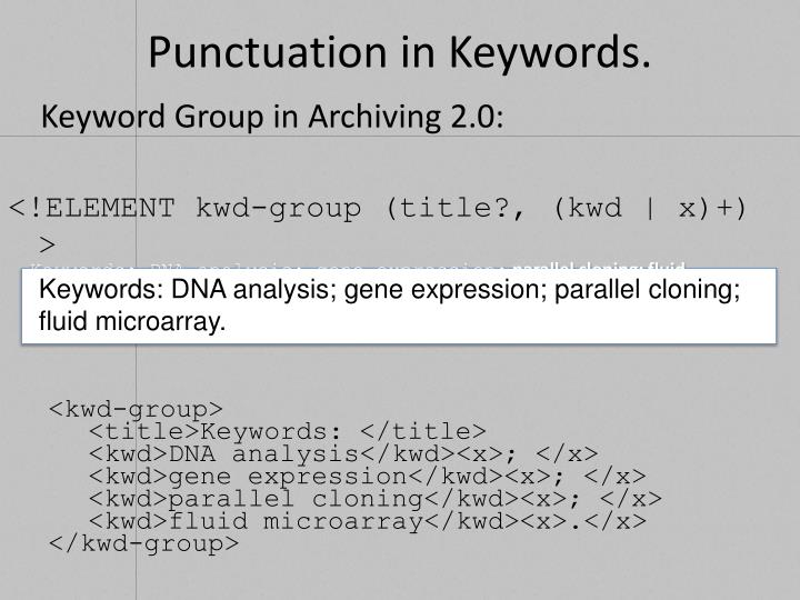 Punctuation in Keywords.