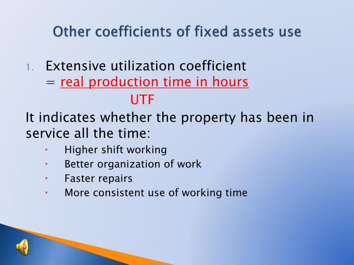 Other coefficients of fixed assets use