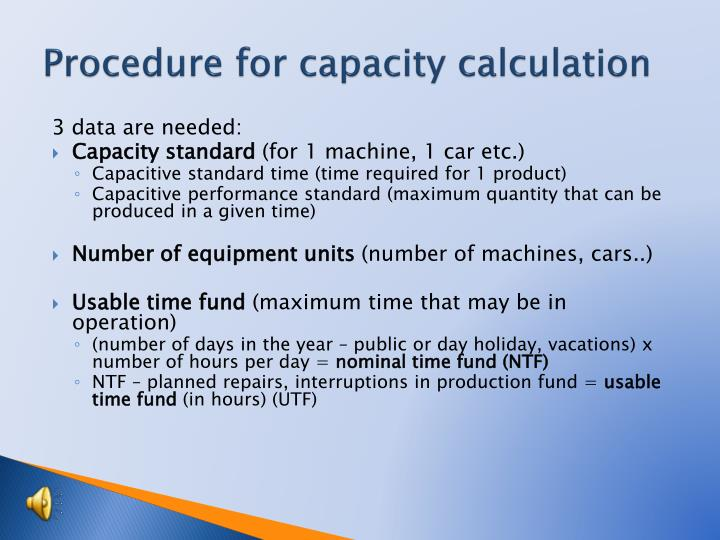 Procedure for capacity calculation