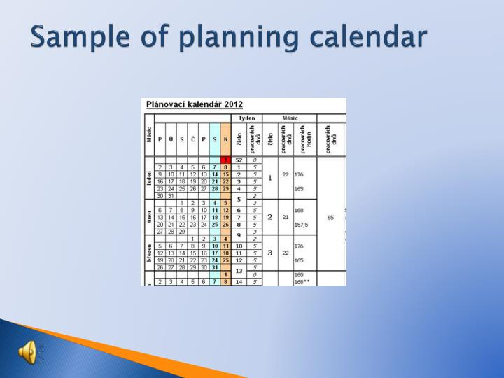 Sample of planning calendar