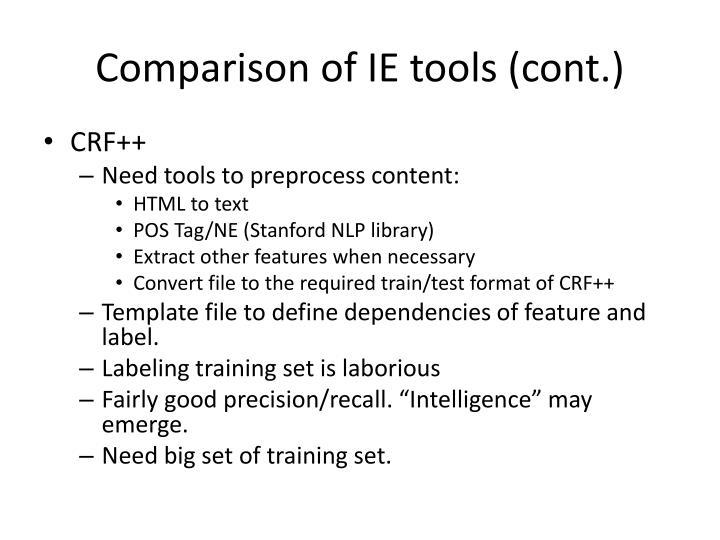 Comparison of IE tools (cont.)