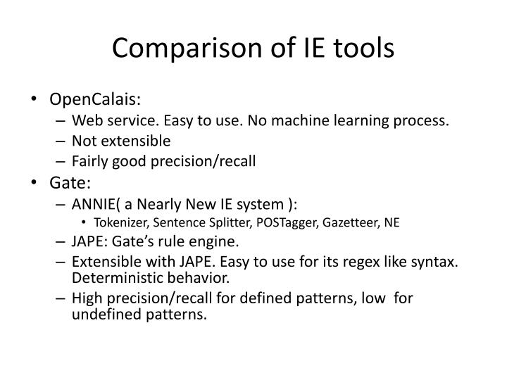 Comparison of IE tools
