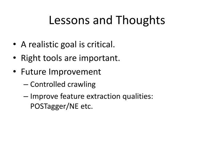 Lessons and Thoughts