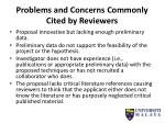 problems and concerns commonly cited by reviewers4