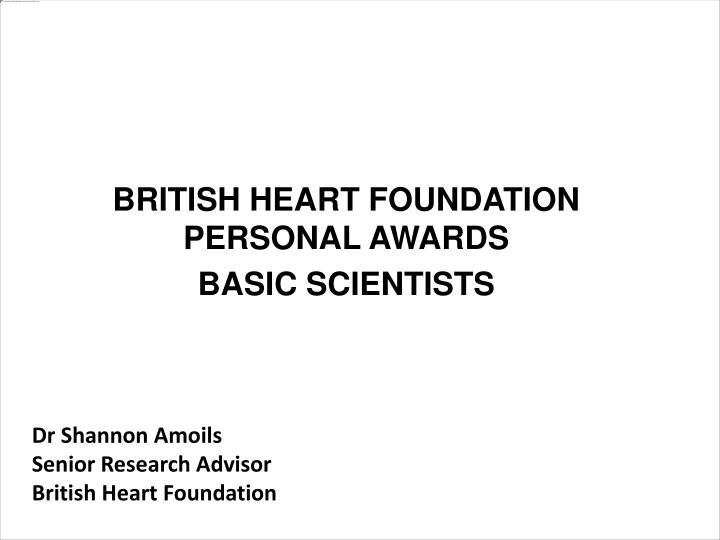 British heart foundation personal awards basic scientists
