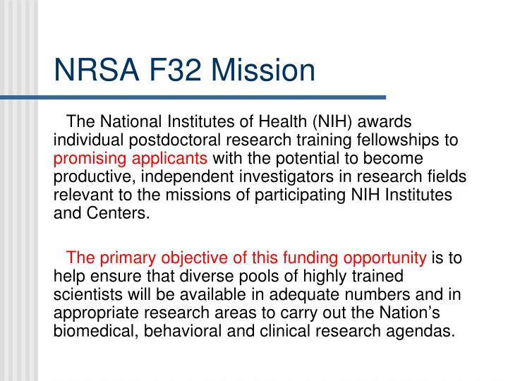 NRSA F32 Mission