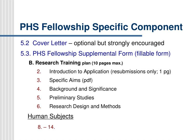 PHS Fellowship Specific Component