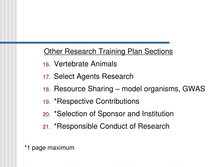 Other Research Training Plan Sections