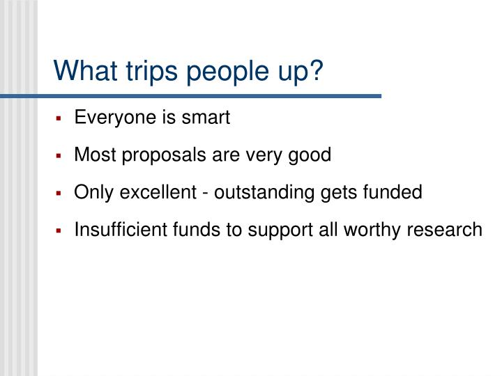 What trips people up?
