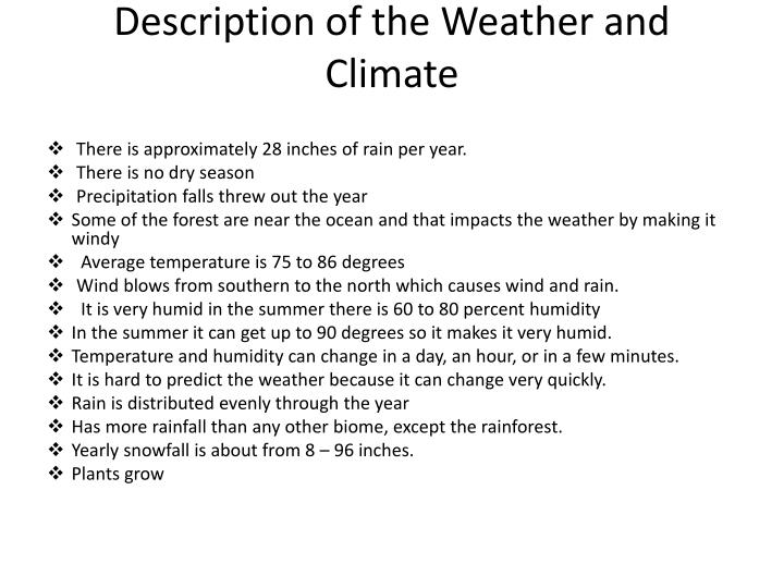 Description of the Weather and Climate