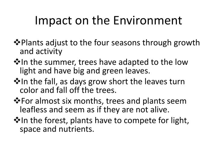 Impact on the Environment