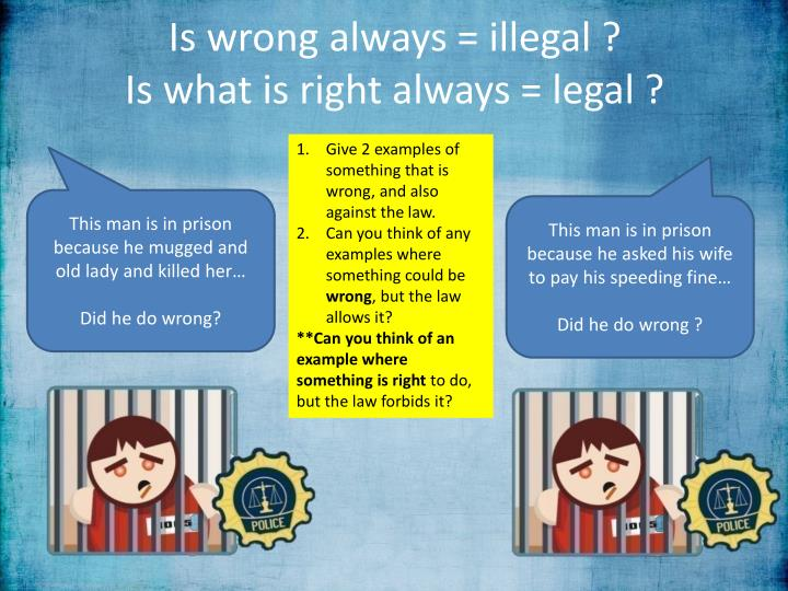 Is wrong always = illegal ?