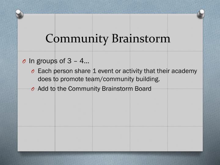 Community Brainstorm