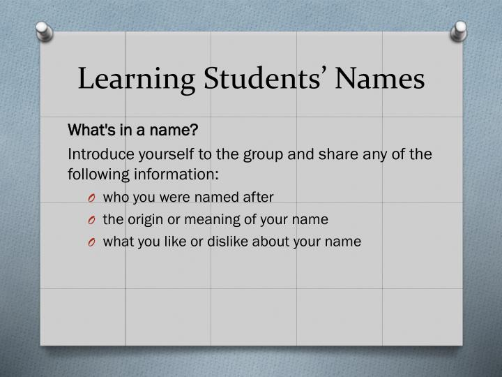 Learning Students' Names