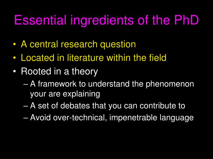 Essential ingredients of the