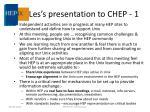 les s presentation to chep 1