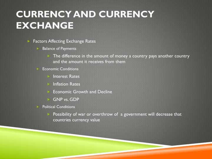 Currency and Currency Exchange