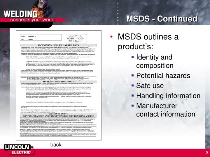 MSDS - Continued