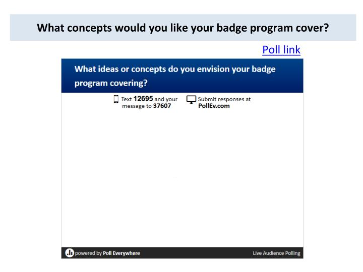 What concepts would you like your badge program cover?