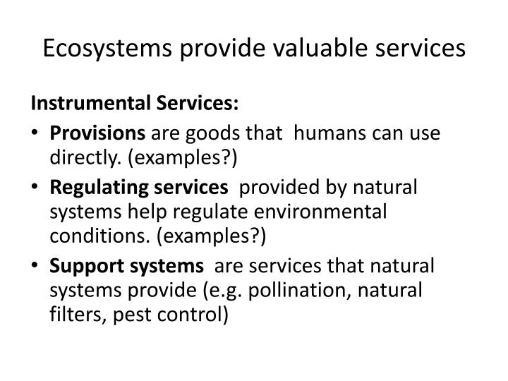 Ecosystems provide valuable services