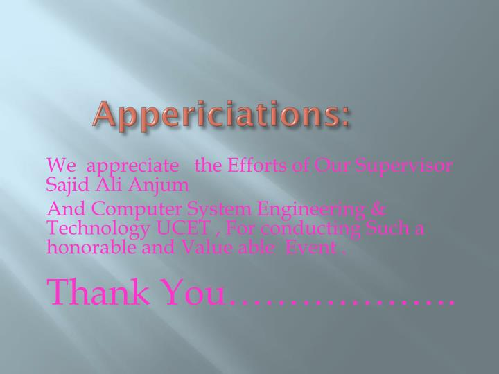 Appericiations: