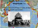 depth 33 0 kilometers magnitude 7 6