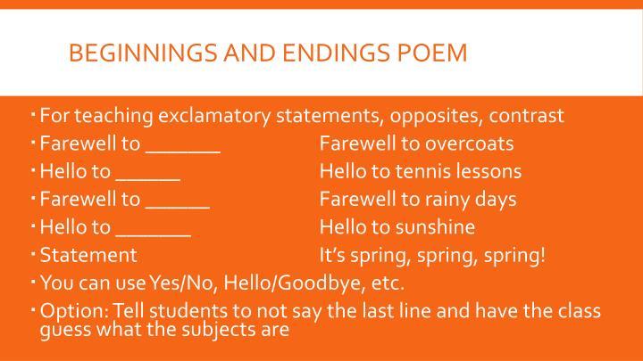 Beginnings and Endings Poem
