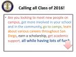 calling all class of 2016