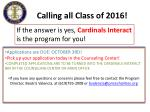 calling all class of 20161