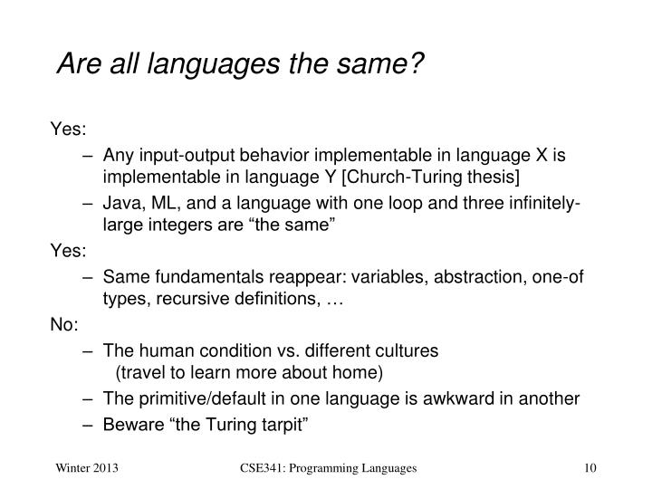 Are all languages the same?