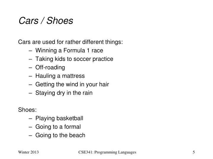 Cars / Shoes