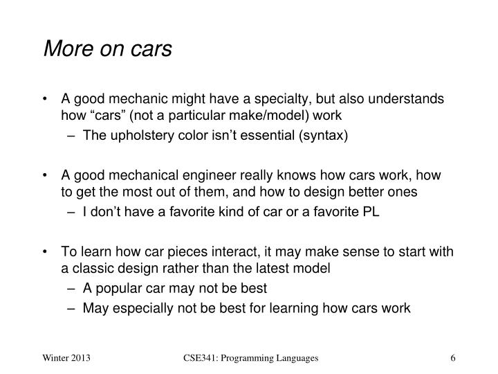More on cars