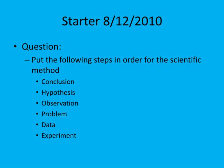 Starter 8/12/2010