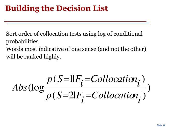 Building the Decision List