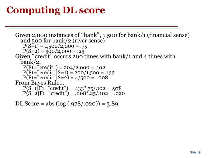 Computing DL score