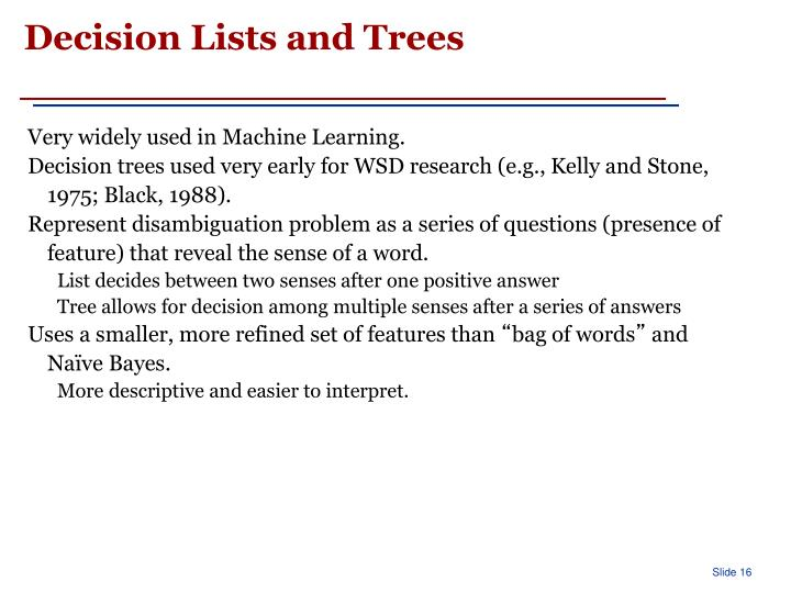 Decision Lists and Trees