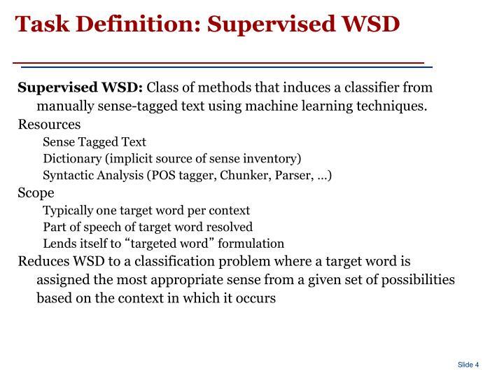 Task Definition: Supervised WSD