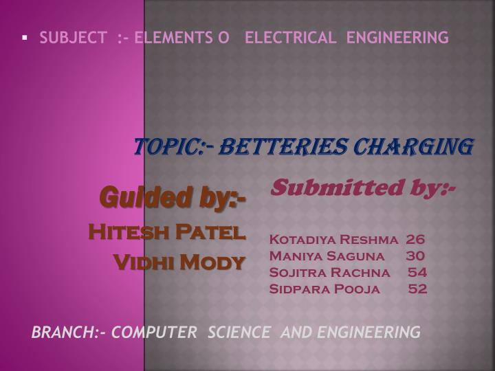 Topic betteries charging