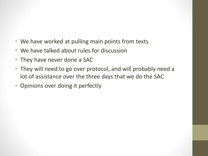We have worked at pulling main points from texts