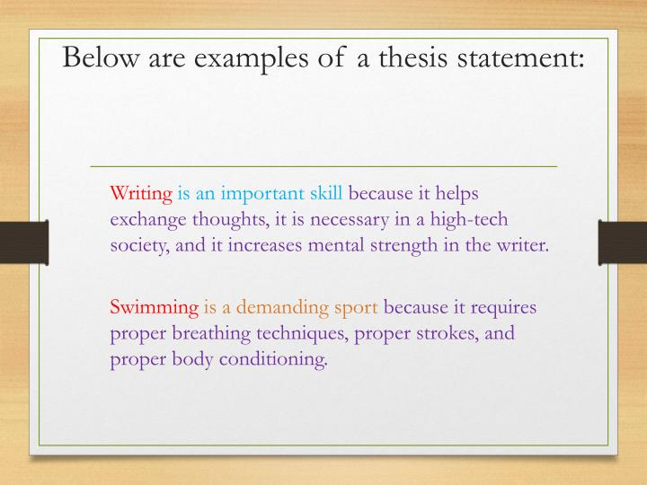 Below are examples of a thesis