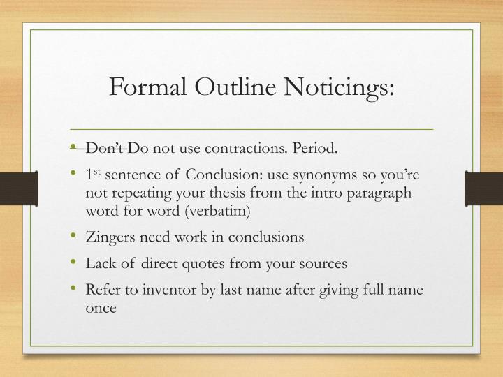 Formal Outline