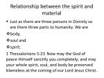 relationship between the spirit and material