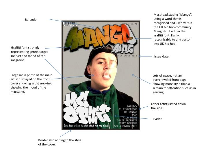 """Masthead stating """"Mango"""". Using a word that is recognised and used within the UK hip hop communi..."""