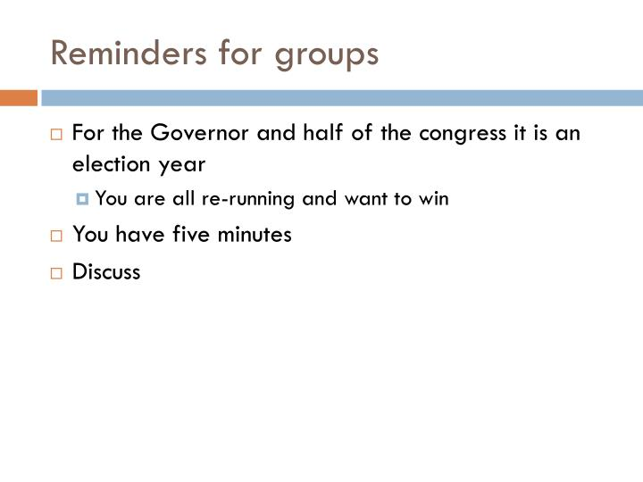Reminders for groups
