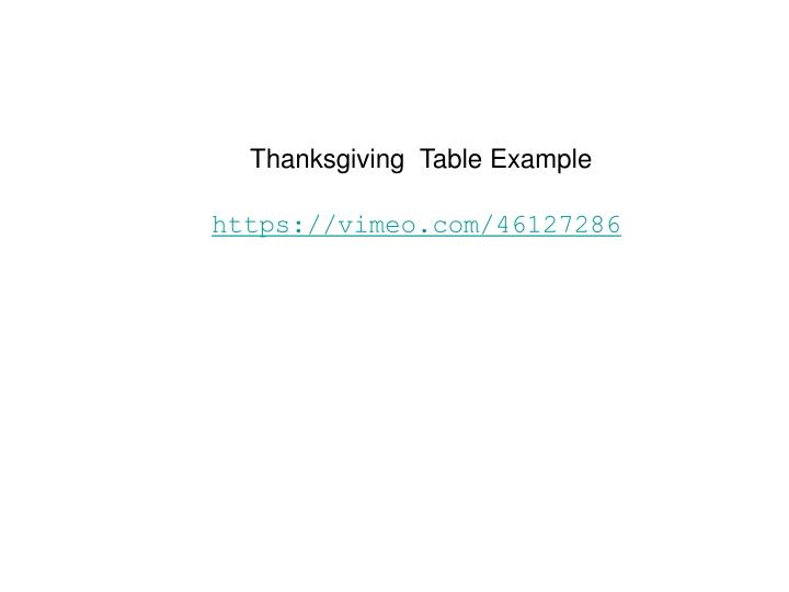 Thanksgiving  Table Example
